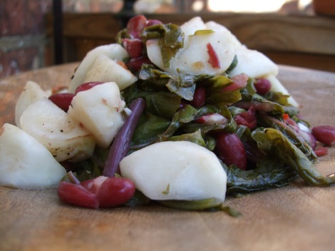 turnips with greens and red beans