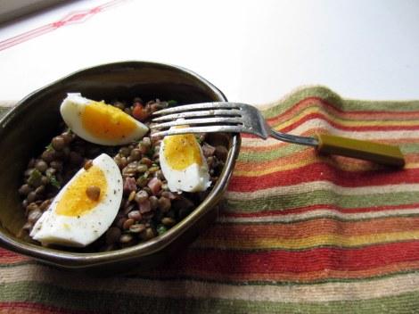 lentils with hard-boiled egg, prosciutto vinaigrette
