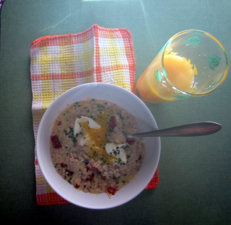 savory oatmeal with poached egg & bacon